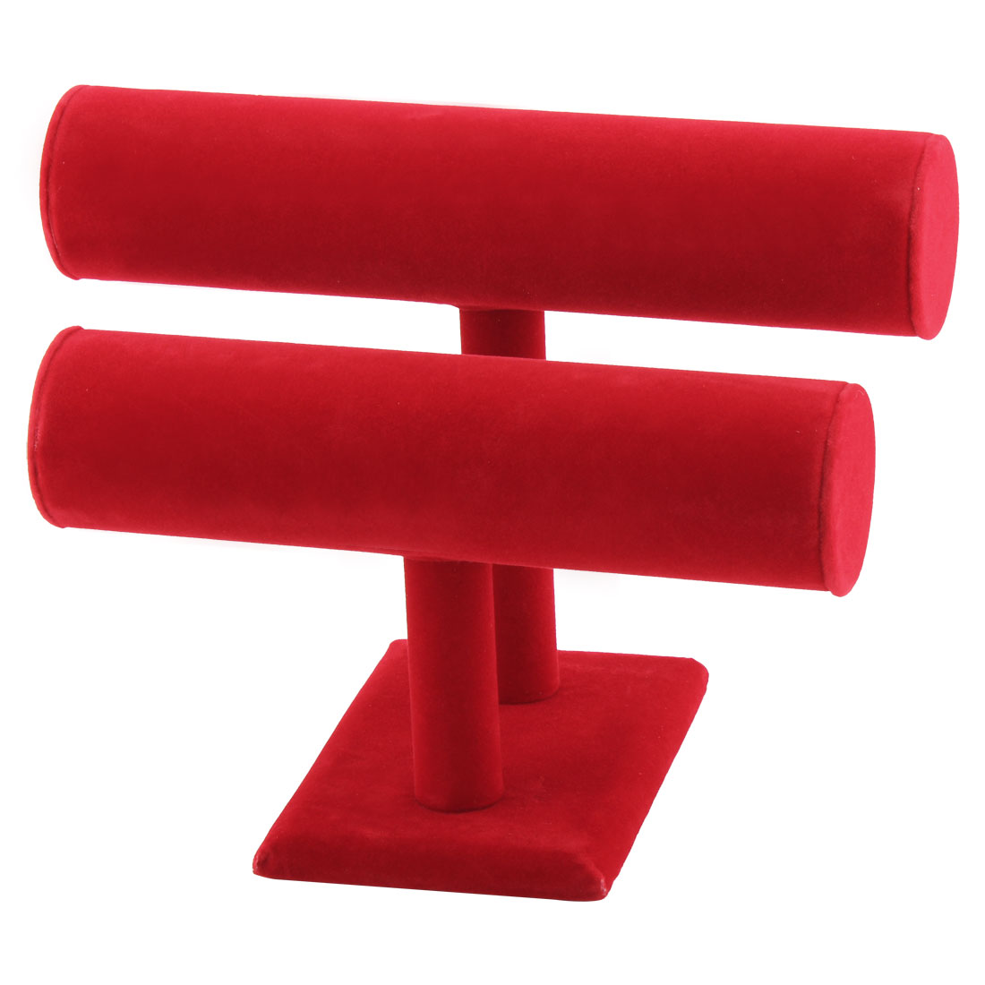Shop Velvet T-Bar 2 Tiers Display Necklace Jewelry Watch Organizer Stand Holder Red