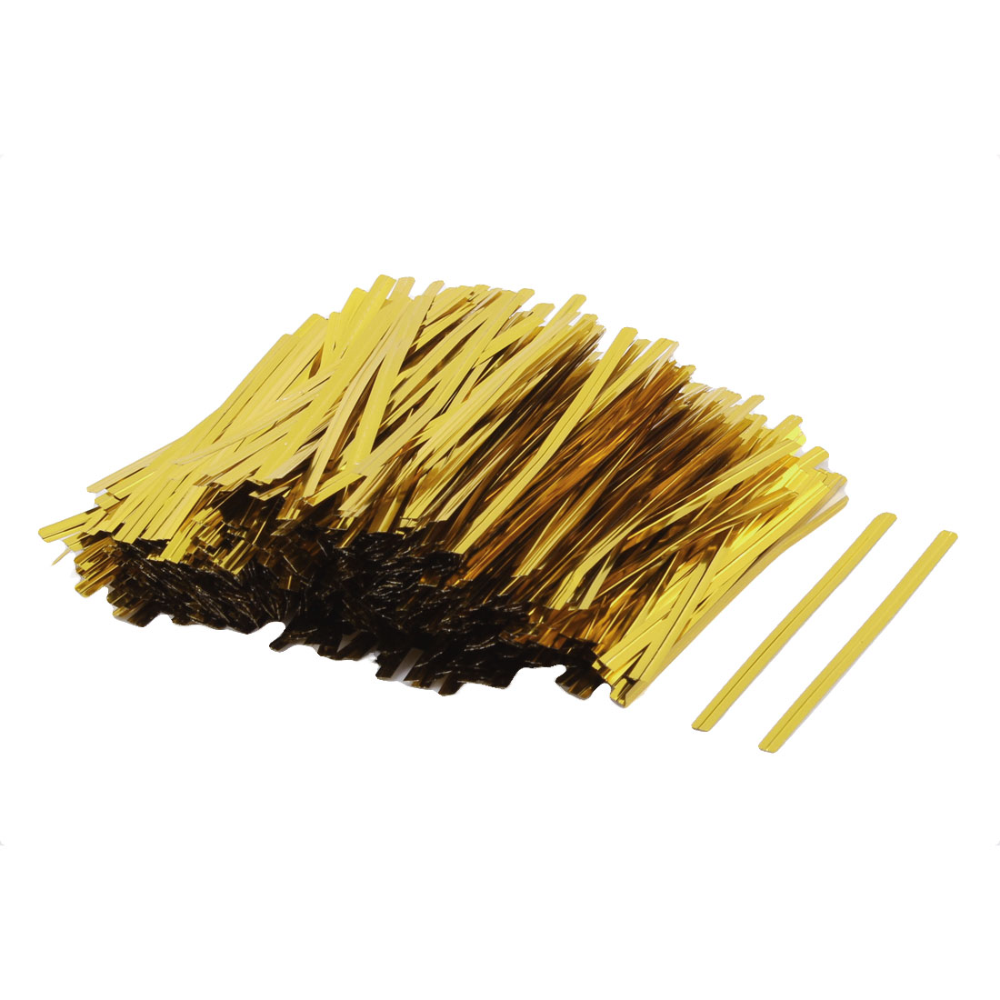 Candy Gift Bags Plastic Coated Metal Cord Packaging Twist Ties Gold Tone 1000pcs