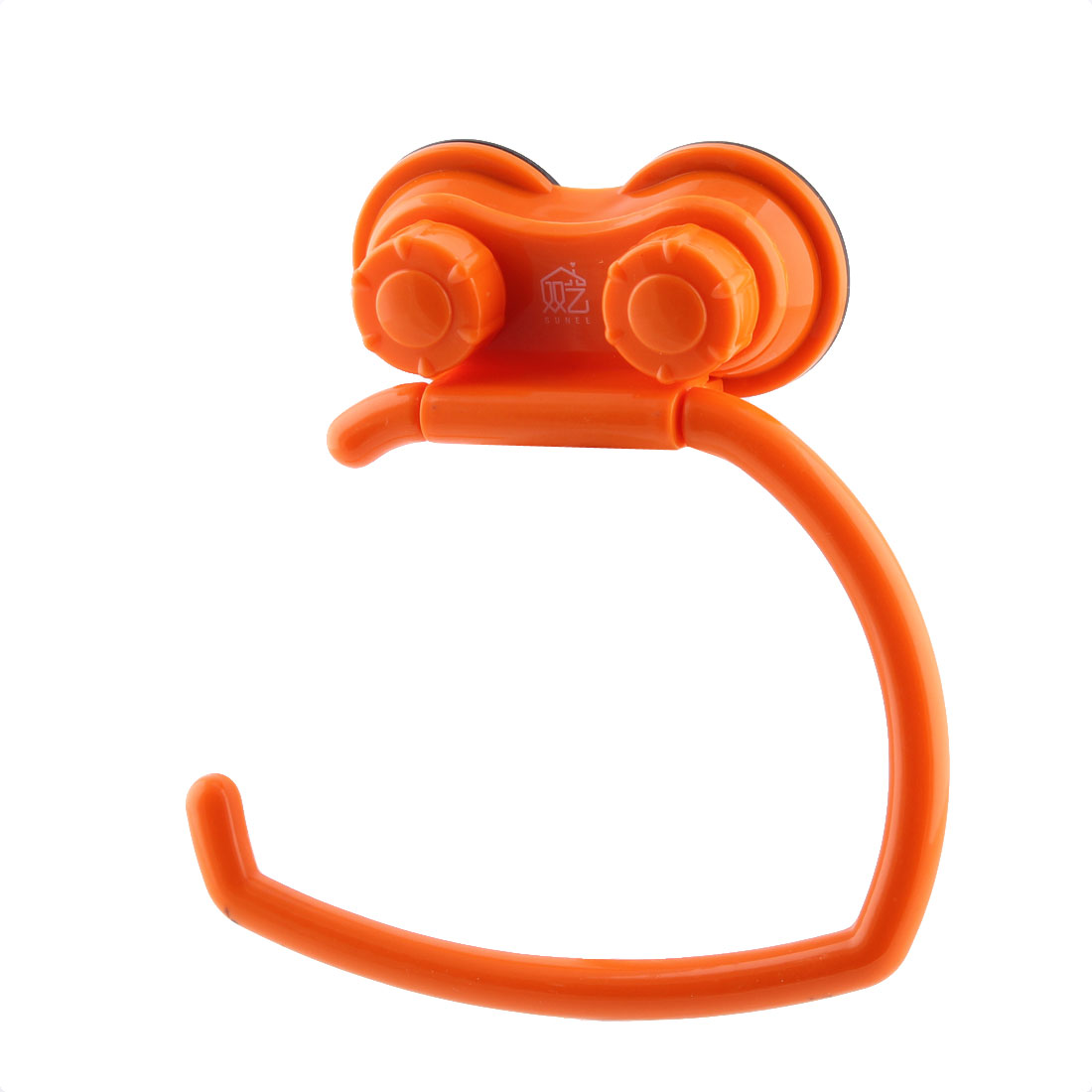 Household Plastic Towel Hanger Rolls Paper Wall Mount Suction Cup Sucker Holder Orange