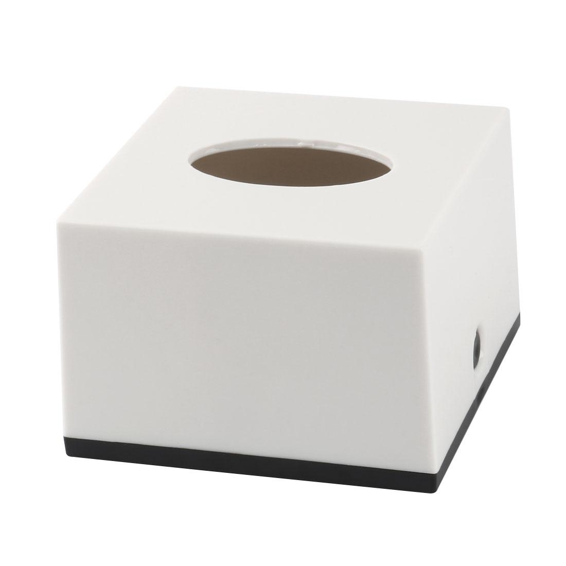 Home Hotel Plastic Square Tissue Napkin Paper Storage Box Holder Case Off White Black
