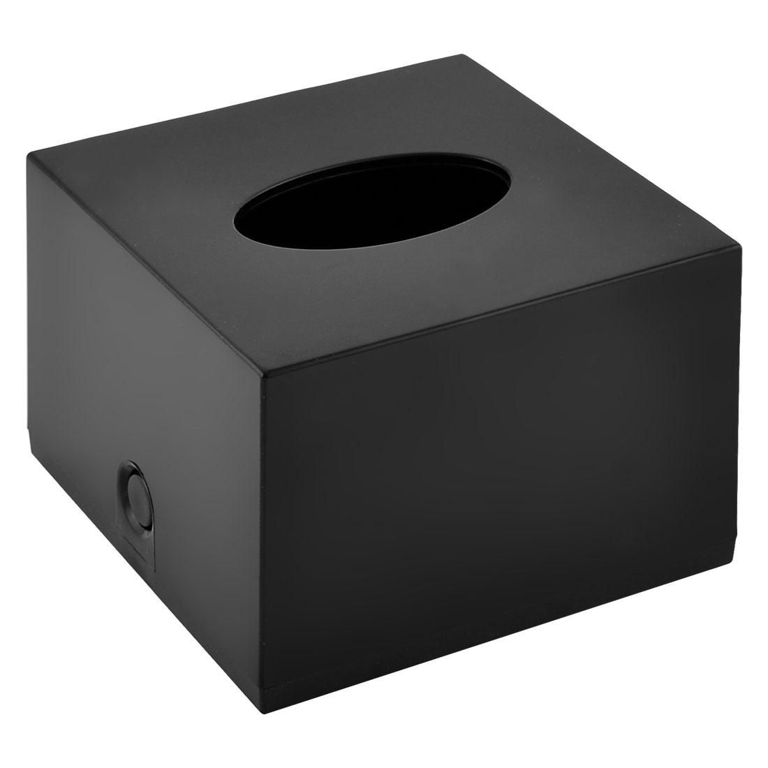 Home Hotel Bathroom Plastic Square Tissue Paper Storage Box Holder Case Black