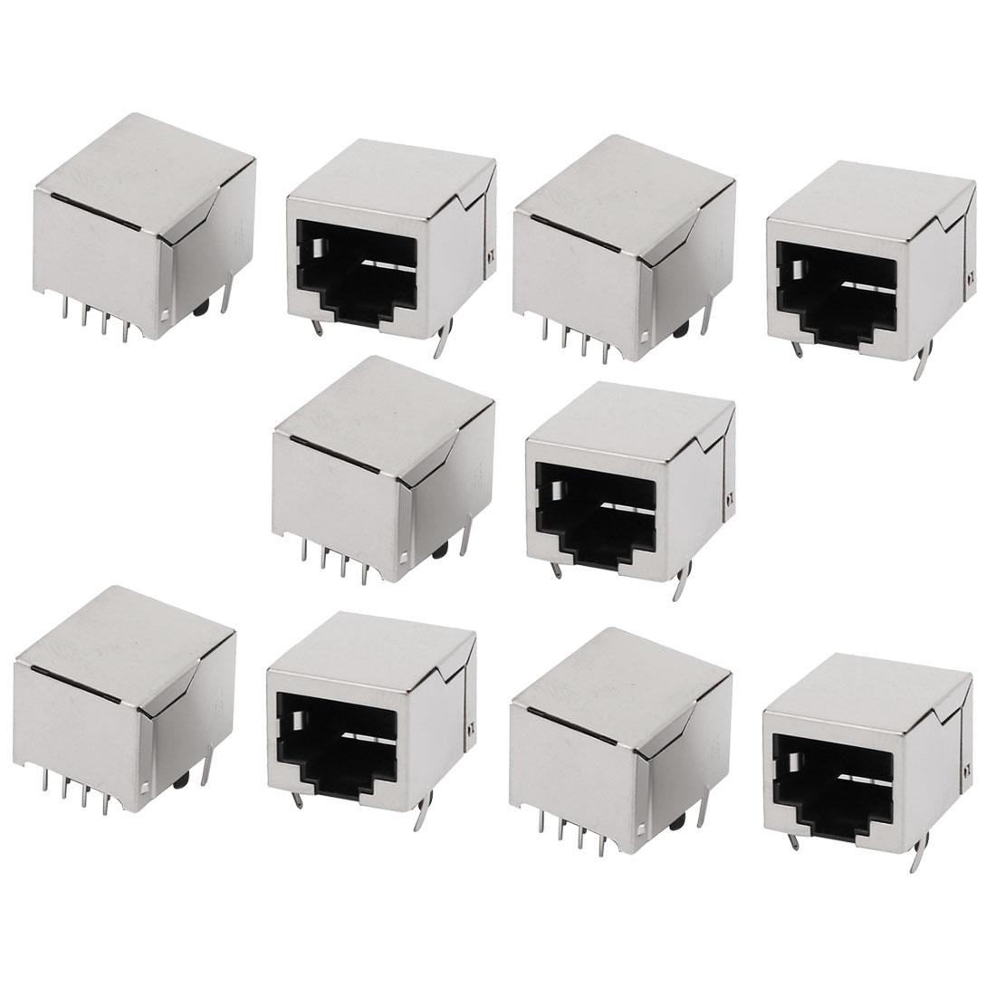 RJ45 8P8C Female PCB Mounting Modular Jack Ethernet Network Connector 10pcs