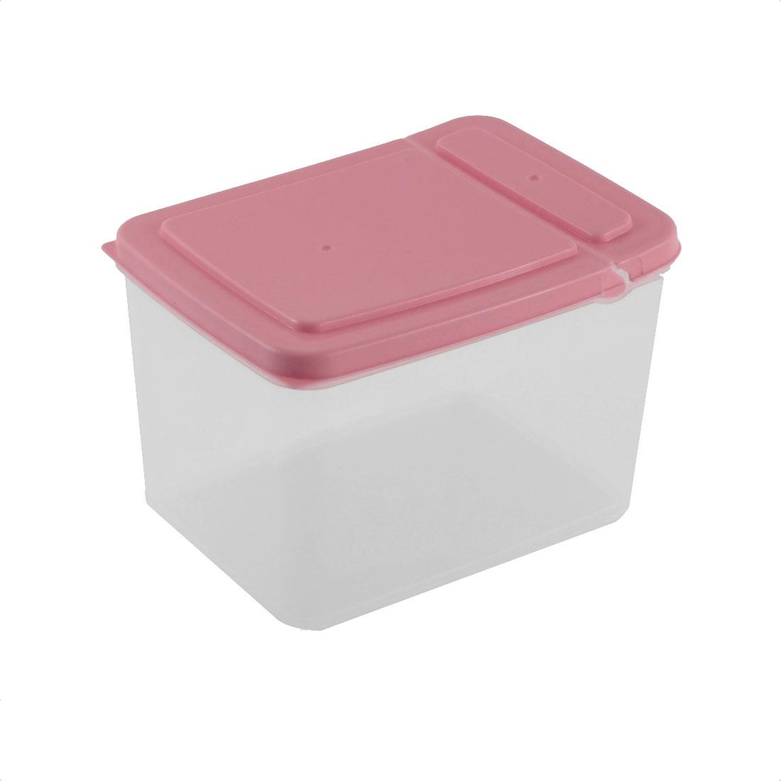 Household Pantry Refrigerator Freezer Plastic Transparent Storage Box Keeper Pink