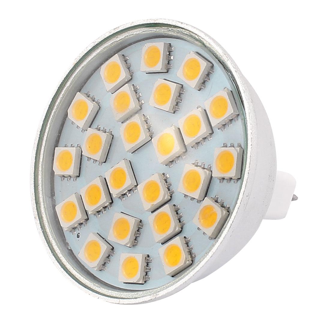 MR16 SMD5050 24LEDs Aluminum Energy Saving LED Lamp Bulb Warm White AC 220V 3W