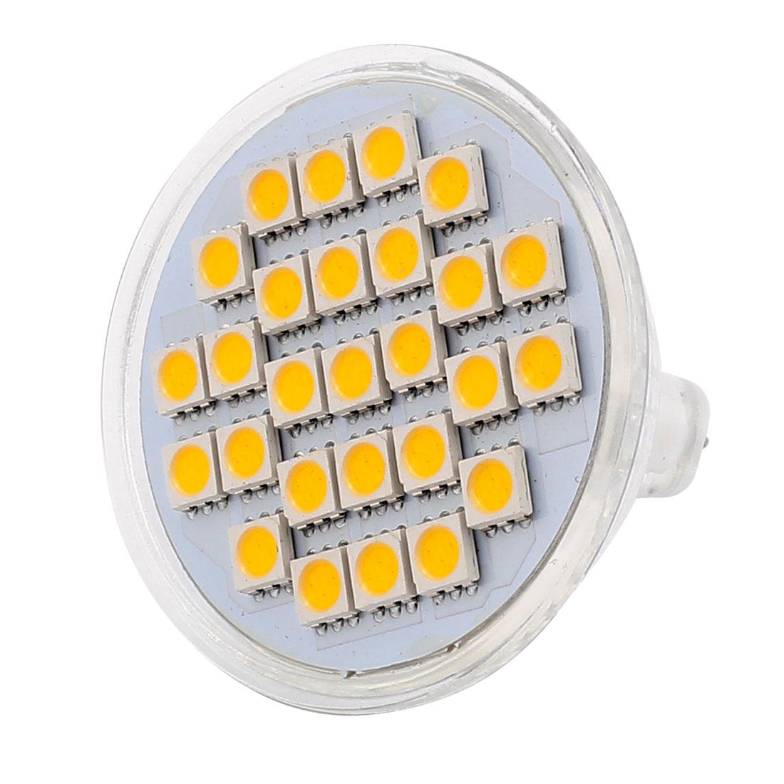 MR16 SMD5050 27LEDs AC 220V 4W Glass Energy Saving LED Lamp Bulb Warm White