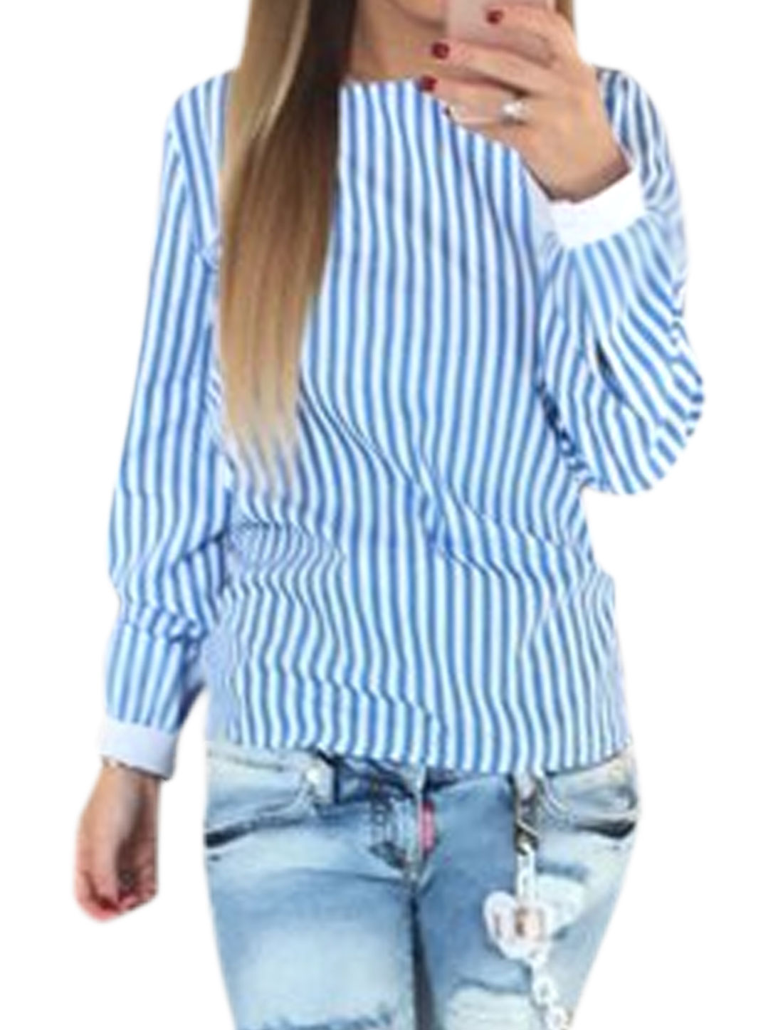 Women Open Back Long Sleeves Stripes Self Tie Top Blue M