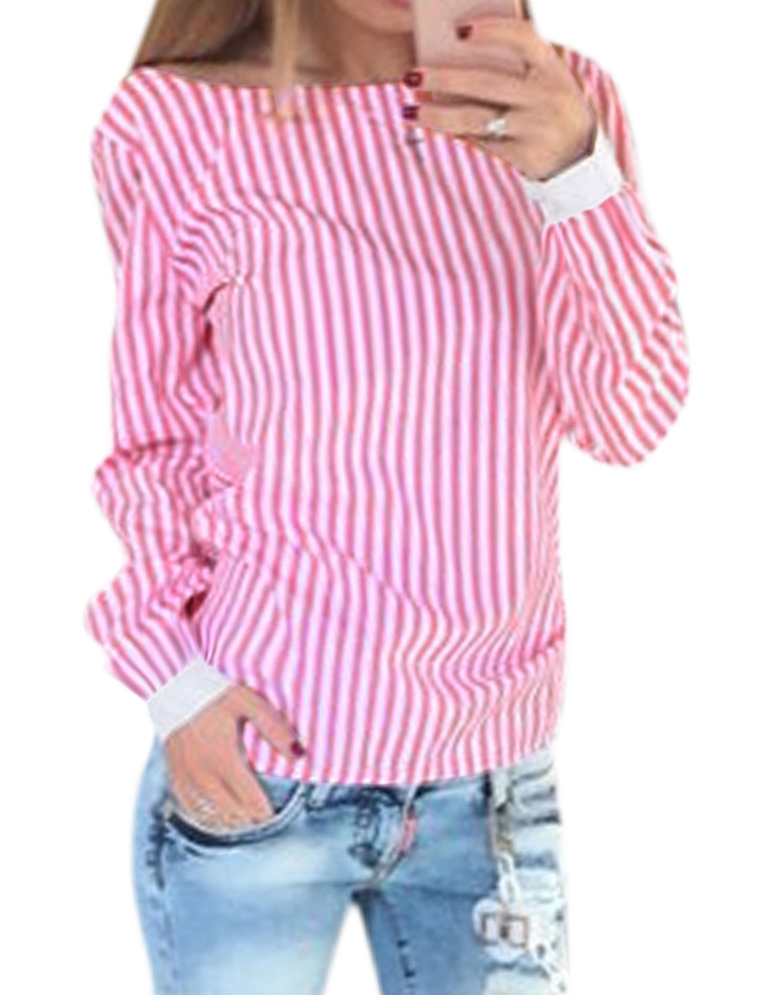 Women Open Back Long Sleeves Stripes Self Tie Top Pink M