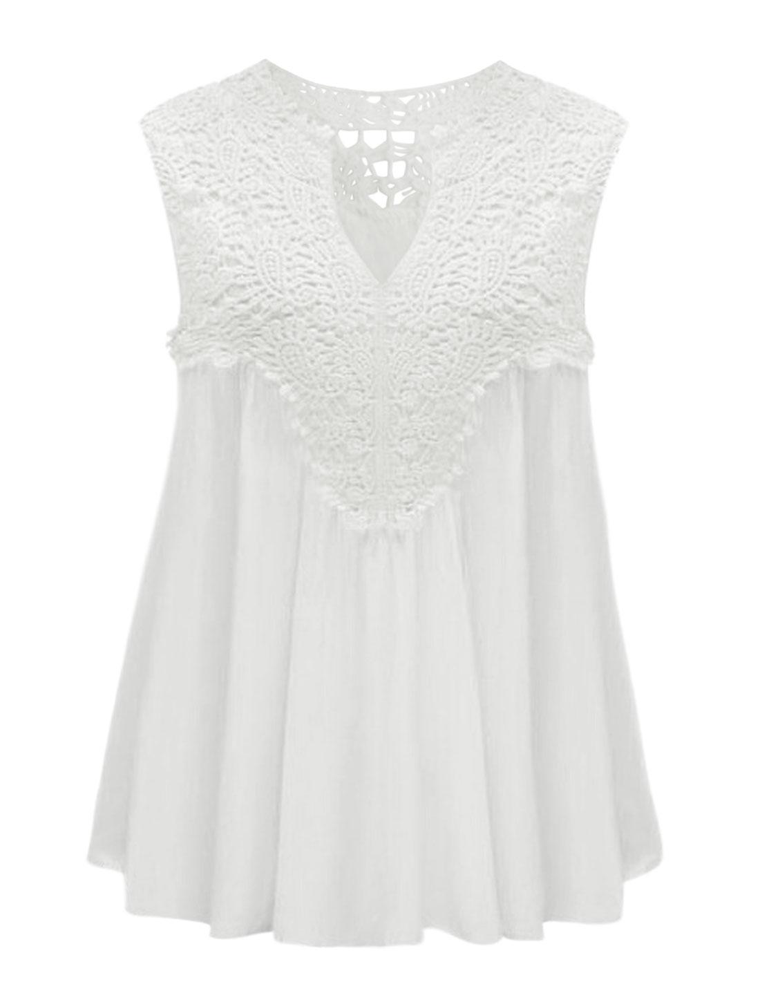 Women Split Neck Crochet Overlay Upper Sleeveless Top White L