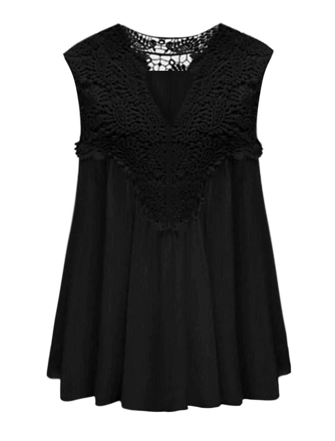 Women Split Neck Crochet Overlay Upper Sleeveless Top Black L