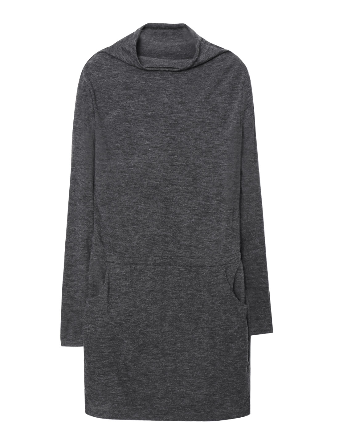 Women Long Sleeves Cowl Neck Side Pockets Shift Dress Gray M