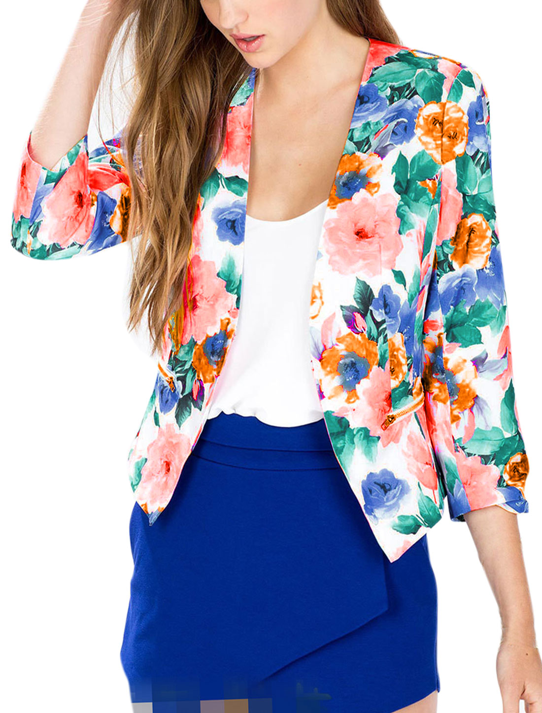 Women 3/4 Sleeves Floral Prints Open Front Blazer Multi-color M