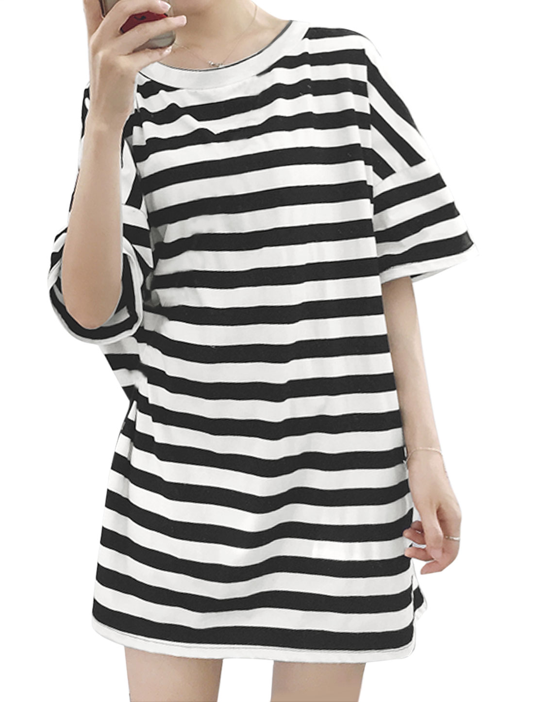 Women Drop Shoulder 1/2 Batwing Sleeves Stripes Loose Tunic Dress Black S