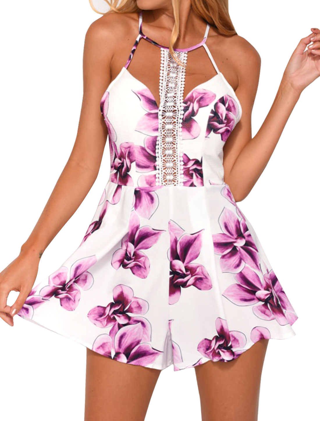 Women Cut Out Front Playful Pleated Flower Romper White M