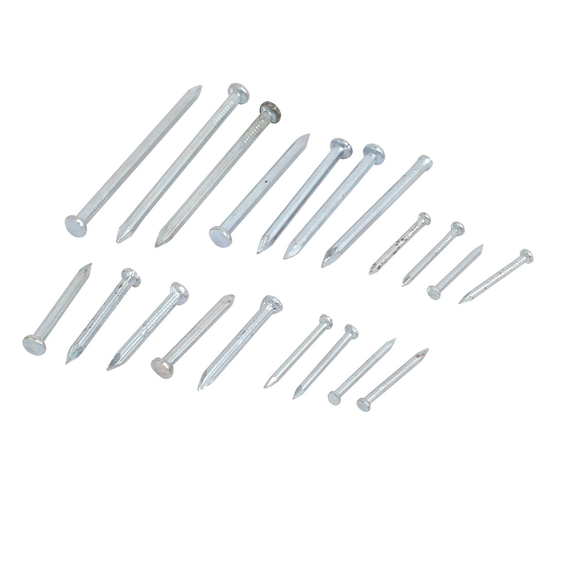 20 in 1 Point Tip Concrete Cement Wire Nail Set Silver Tone