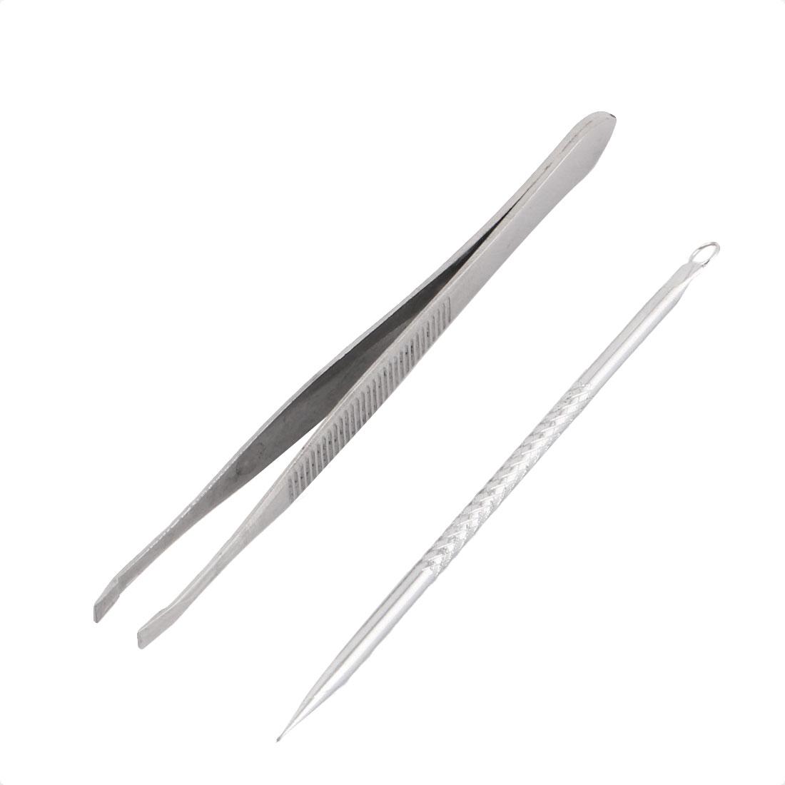 Ladies Comedone Needle Eyebrow Tweezers Beauty Cosmetic Manicure Tool 2 in 1