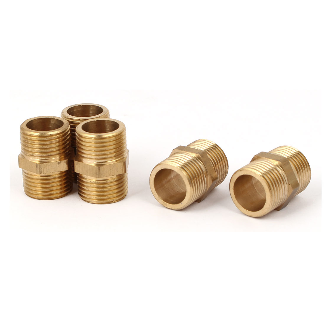 3/8BSP Male Threaded Hex Reducing Nipple Pipe Fitting Brass Tone 5pcs