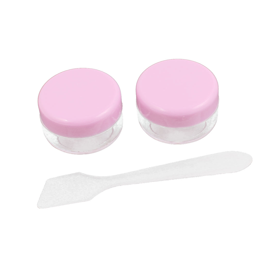 Women Plastic Round Shaped Cosmetic Makeup Container Case Cover Pink Clear 2 Pcs
