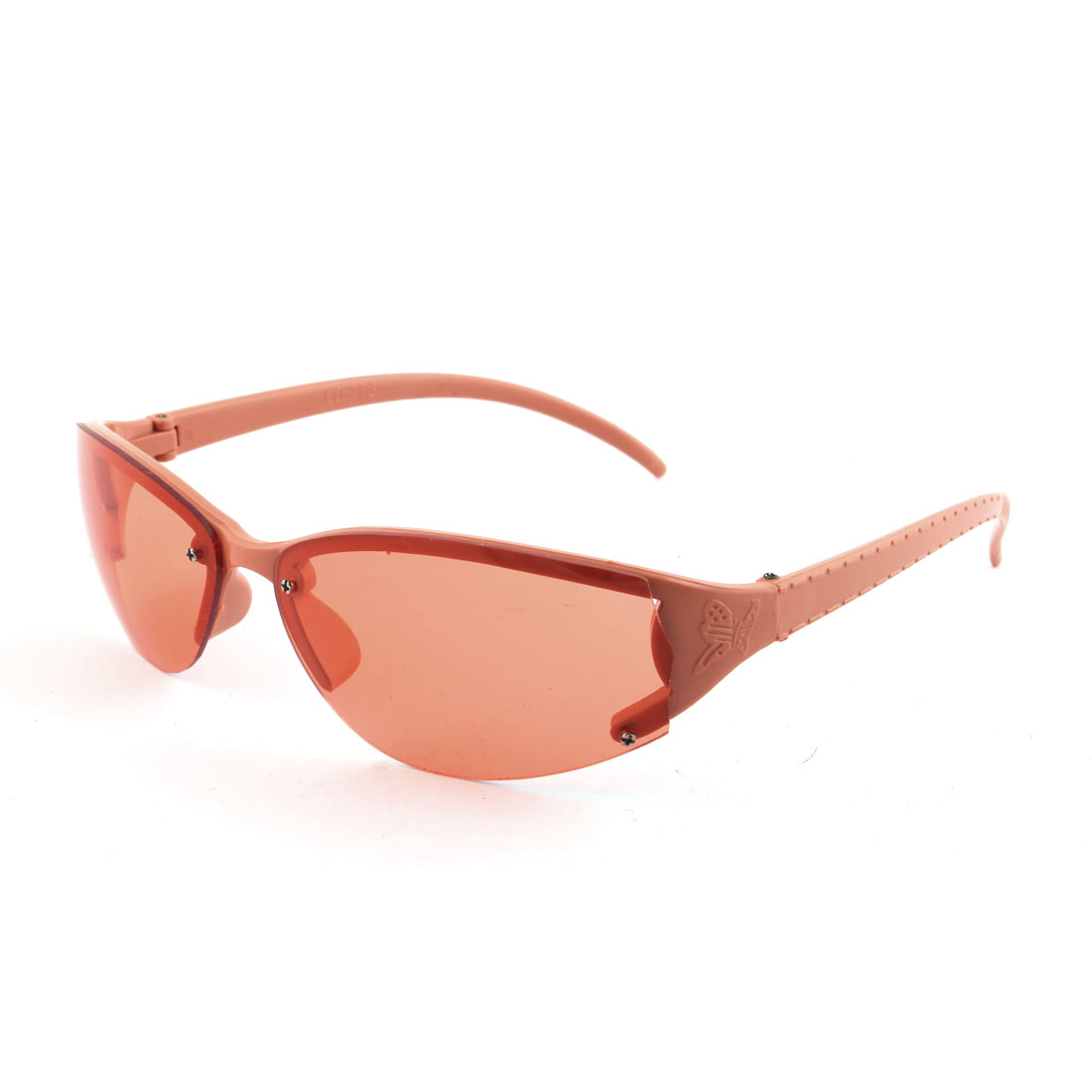 Outdoor Plastic Half Rimless Eyes Protector Eyewear Sunglasses Orange for Ladies