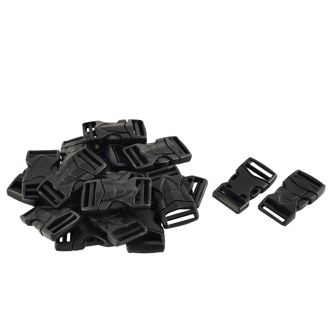 Bag Strap Plastic Side Quick Release Buckle Clip Black 21mm Width 20pcs