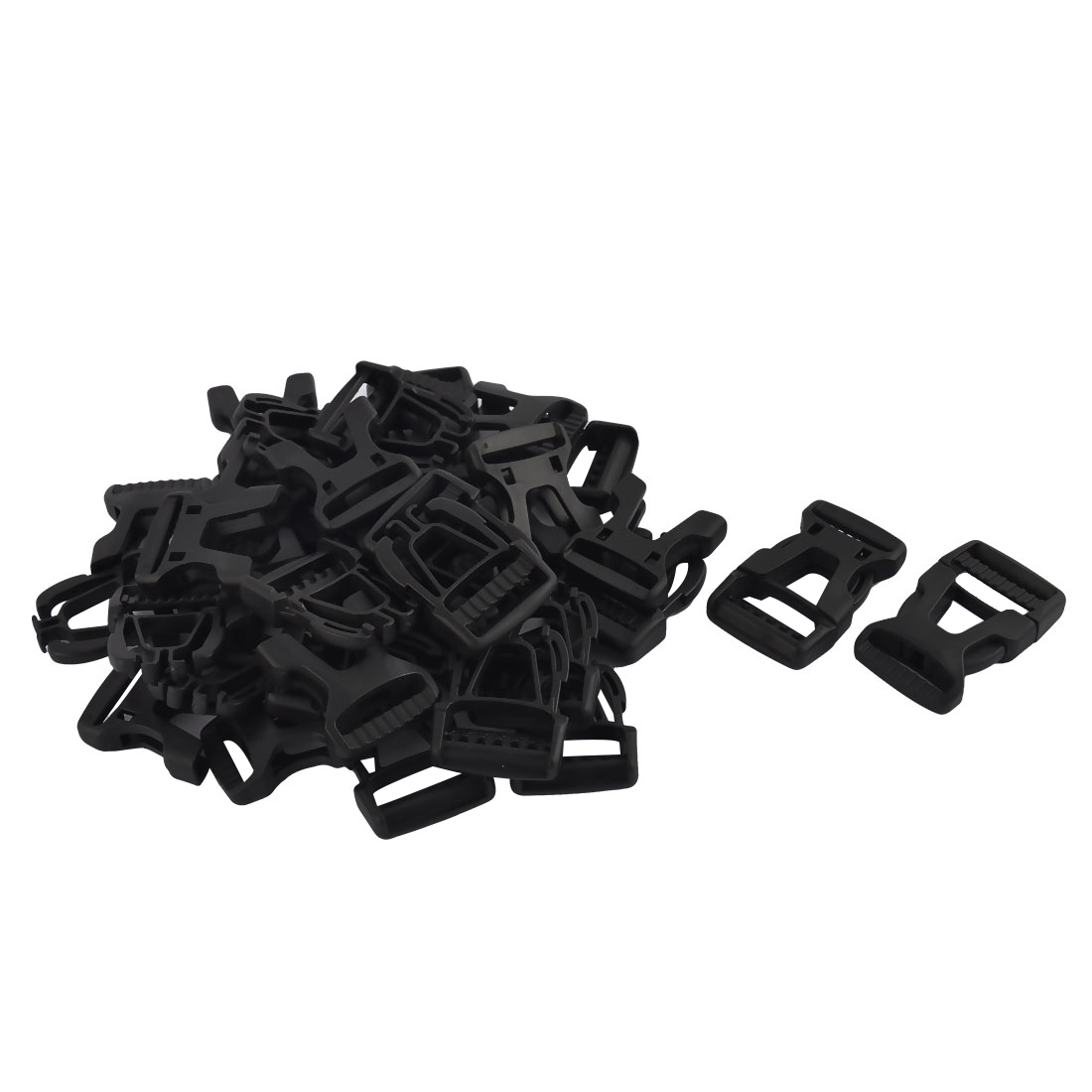 Suitcase Knapsack Strap Plastic Side Quick Release Buckles Black 26mm 20pcs
