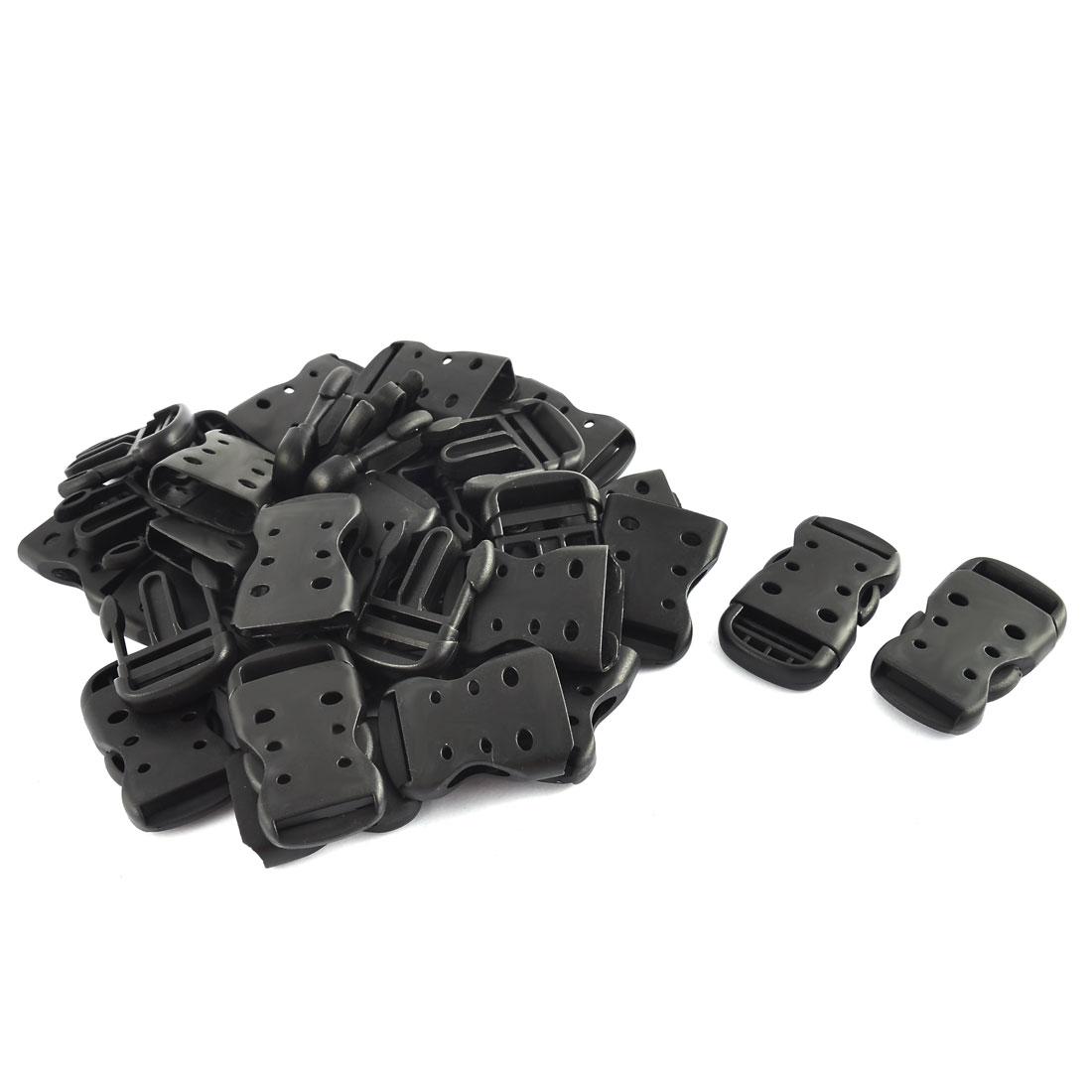 Backpack Belt Strap Plastic Hollow Out Designed Side Release Buckles Black 20pcs