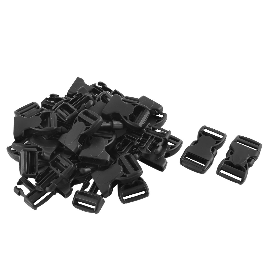 Suitcase Backpack Strap Plastic Double Head Quick Release Buckles Black 25mm 20pcs