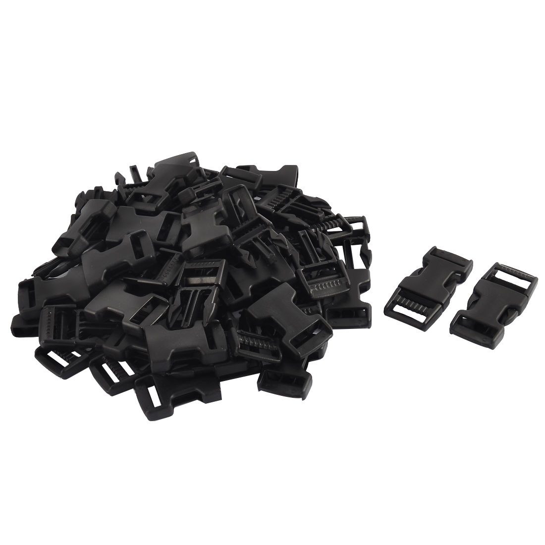 Suitcase Bag Strap Plastic Connected Side Quick Release Buckles Black 20mm 30pcs