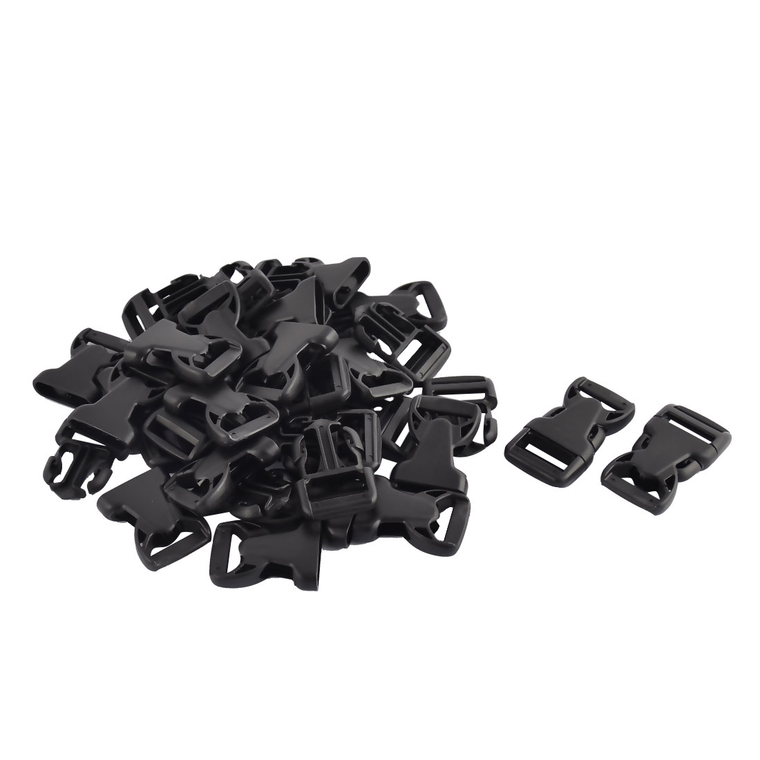 Suitcase Backpack Strap Plastic Side Quick Release Buckles Black 20mm 20pcs