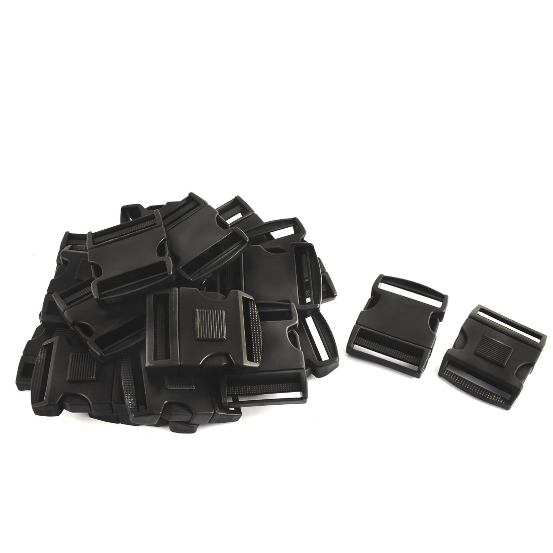 Suitcase Backpack Bag Strap Plastic Side Quick Release Buckle Black 51mm 20pcs
