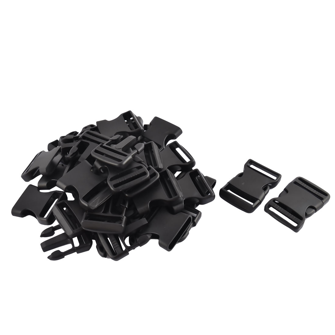 Suitcase Backpack Belt Strap Plastic Double Side Release Buckles Black 20pcs