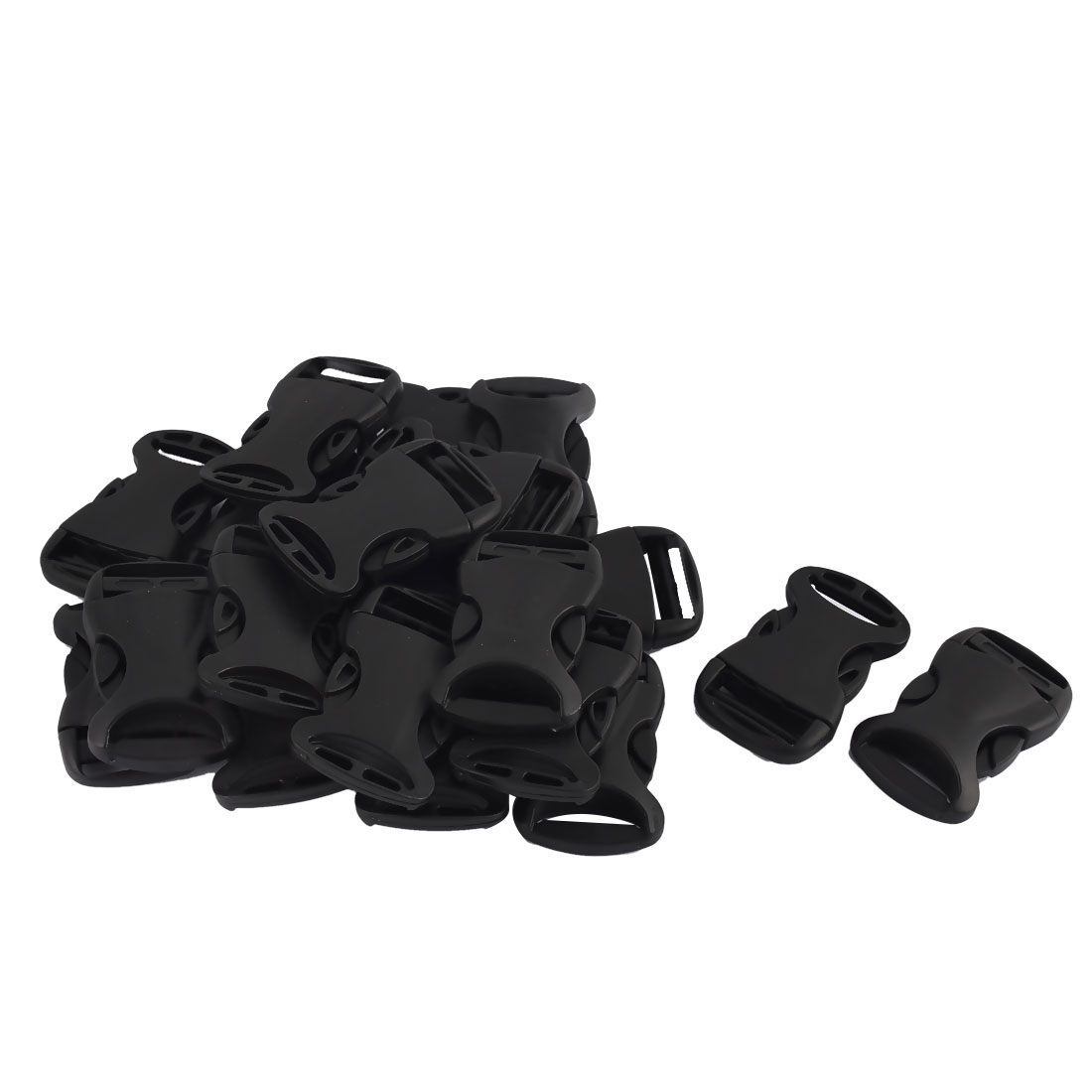 Suitcase Backpack Strap Clip Plastic Side Quick Release Buckles Black 20pcs