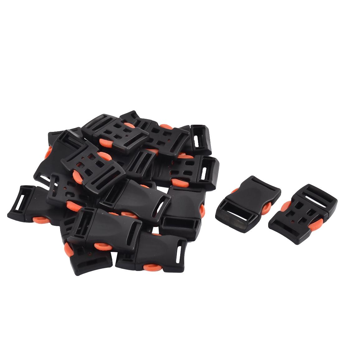 Handbag Plastic Side Quick Release Buckles 10mm Webbing Slot Black Orange 20Pcs