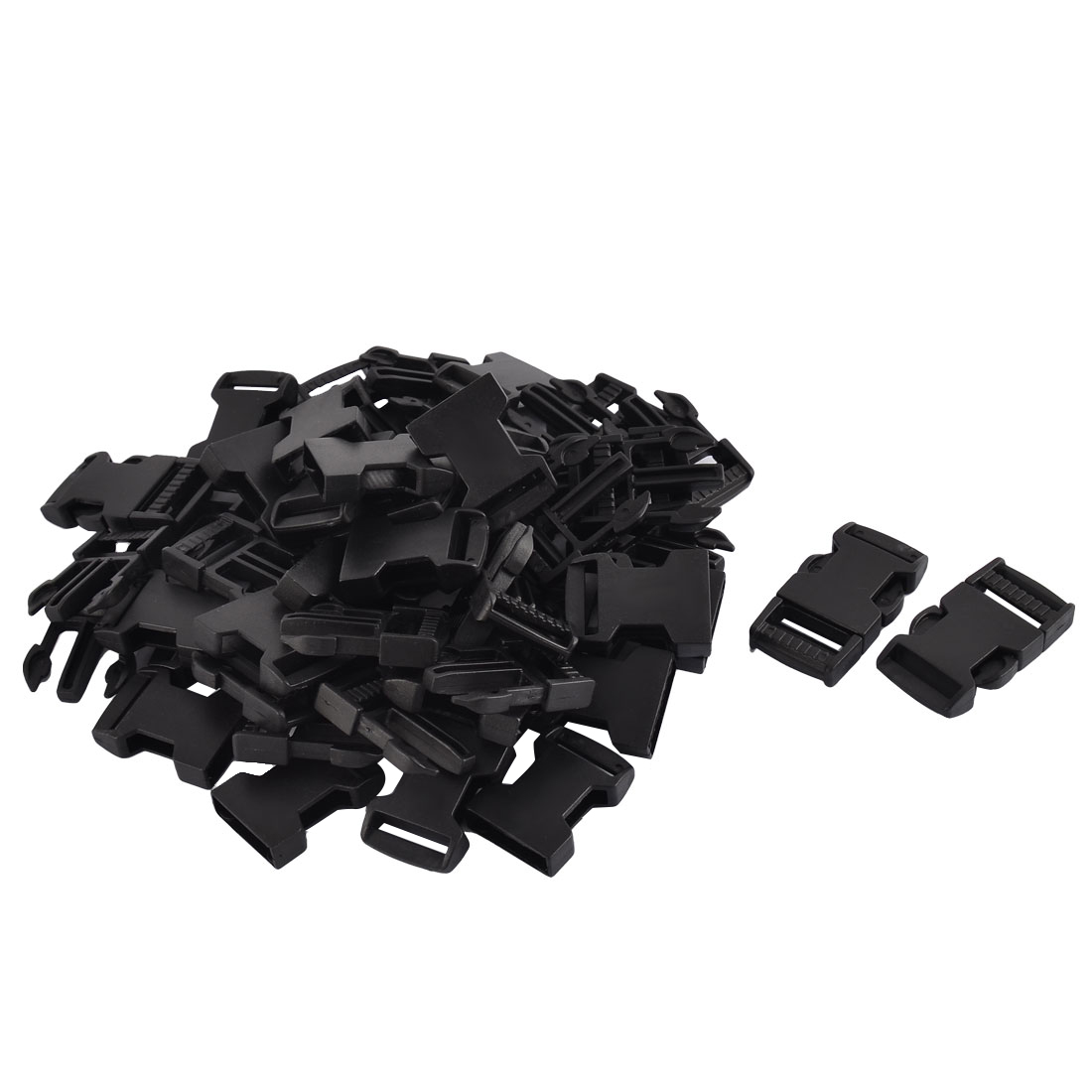Suitcase Bag Webbing Strap Plastic Side Quick Release Buckle Black 20mm 30pcs