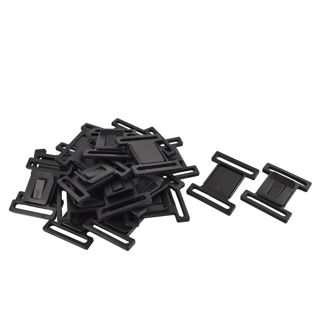 Backpack Case Box Strap Plastic Bag Belt Buckles Black 5.8cm Width 20pcs