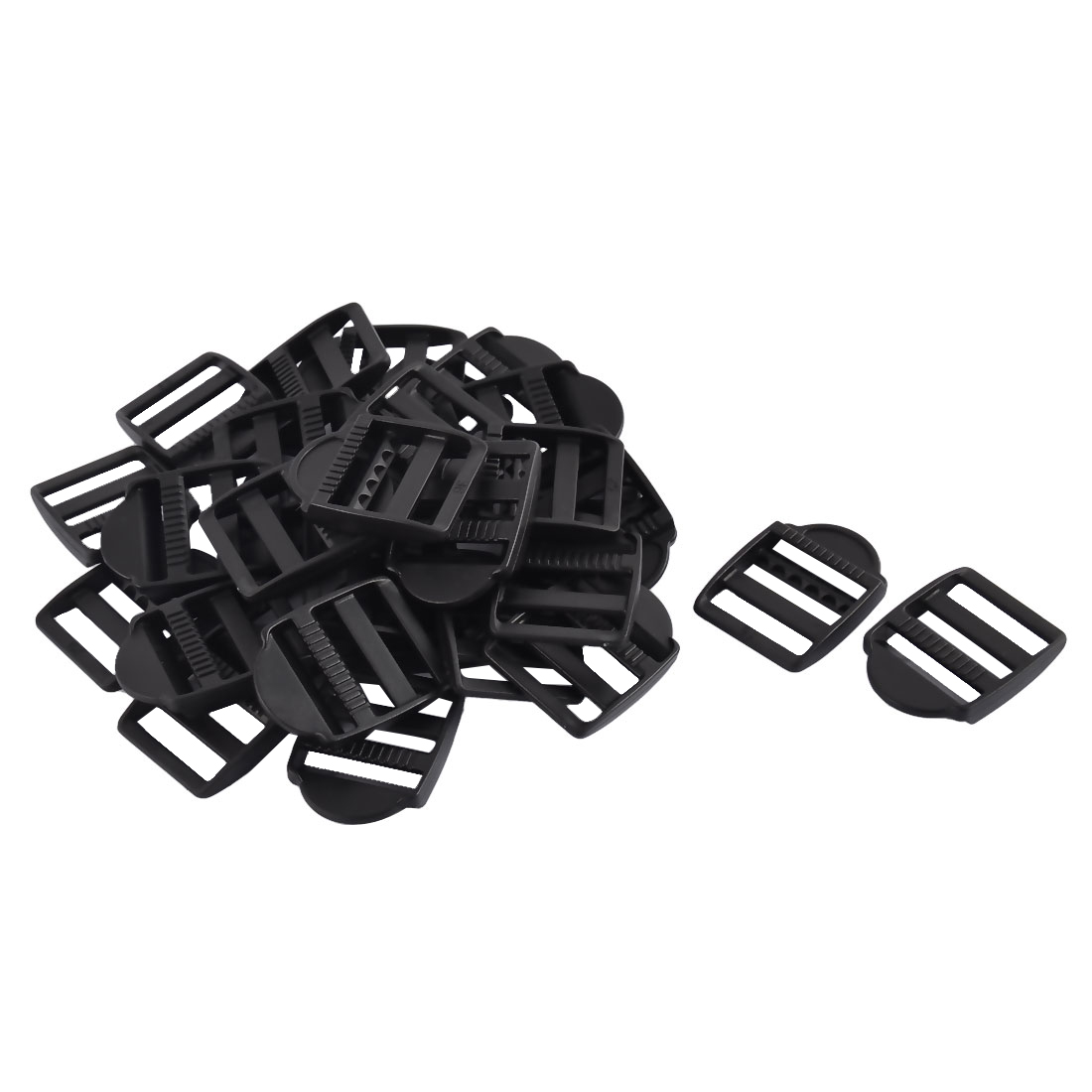 Suitcase Plastic Adjustable Designed Bag Belt Strap Buckles Black 2.5cm 31pcs