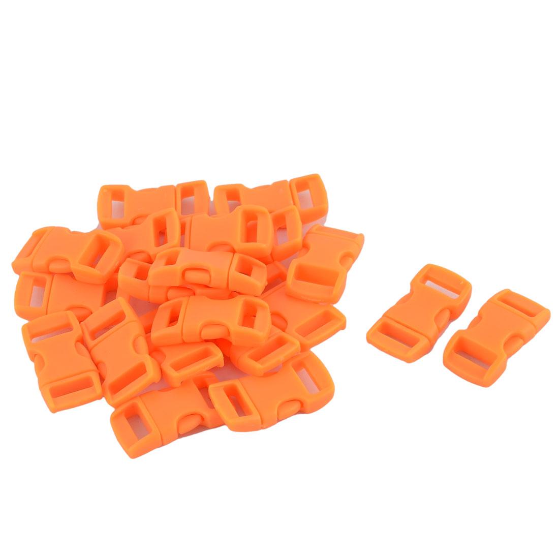 Handbag Plastic Curved Side Release Buckles 10mm Webbing Slot Light Orange 20Pcs