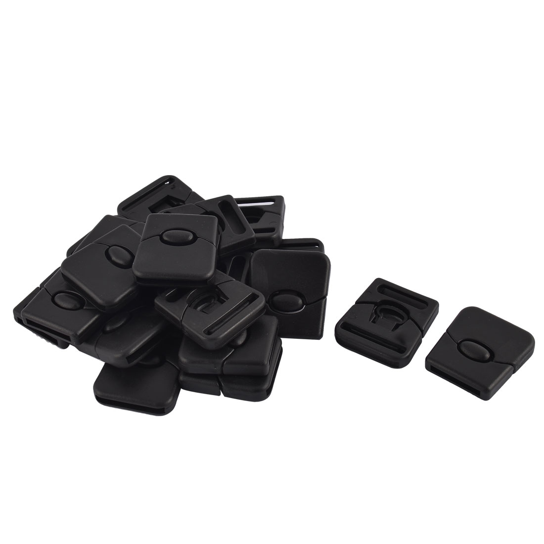 Backpack Strap Middle Button Plastic Side Quick Release Buckles Black 26mm 20pcs