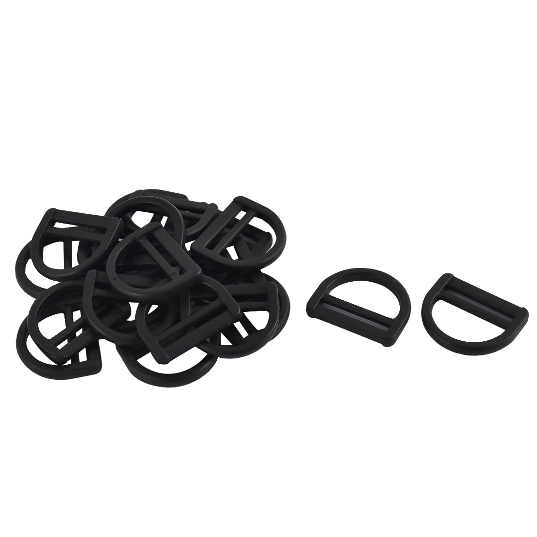 Suitcase Plastic D Shaped Removable Belt Strap Bag Buckles Black 25mm 20pcs