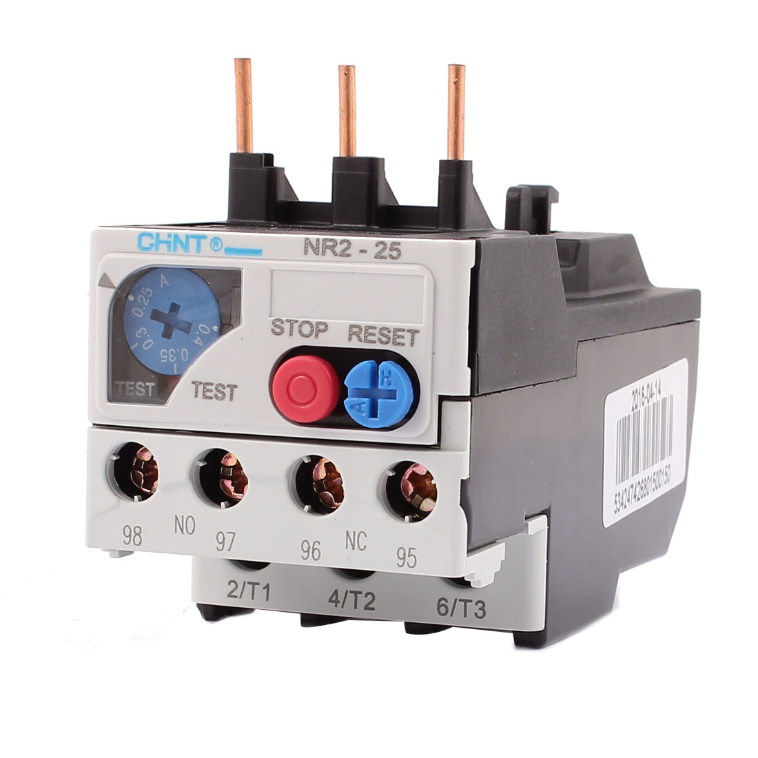 NR2-25 0.25-0.4A 3 Pole 1 NO 1 NC Motor Protector Electric Thermal Overload Relay