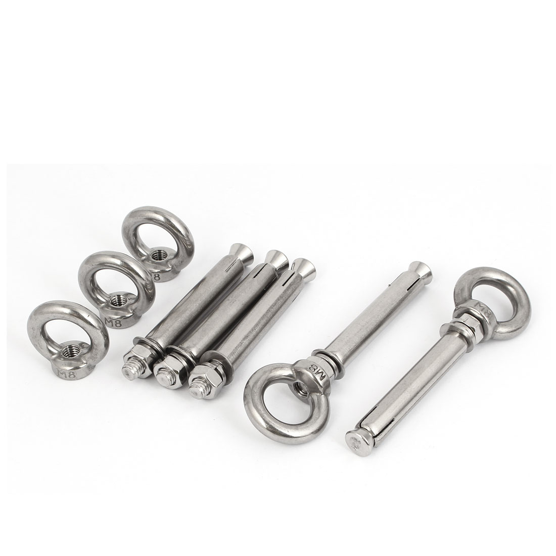 M8x90mm Expansion Screws Closed Hook Anchor Bolts 5pcs for Wall Concrete Brick