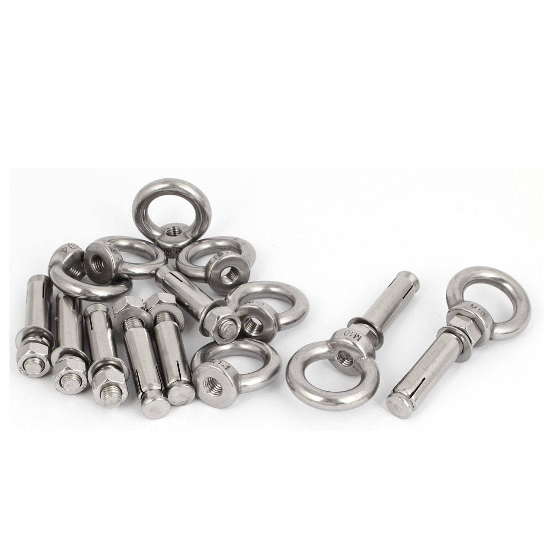 M10x70mm Wall 304 Stainless Steel Expansion Screws Closed Hook Anchor Bolts 8pcs