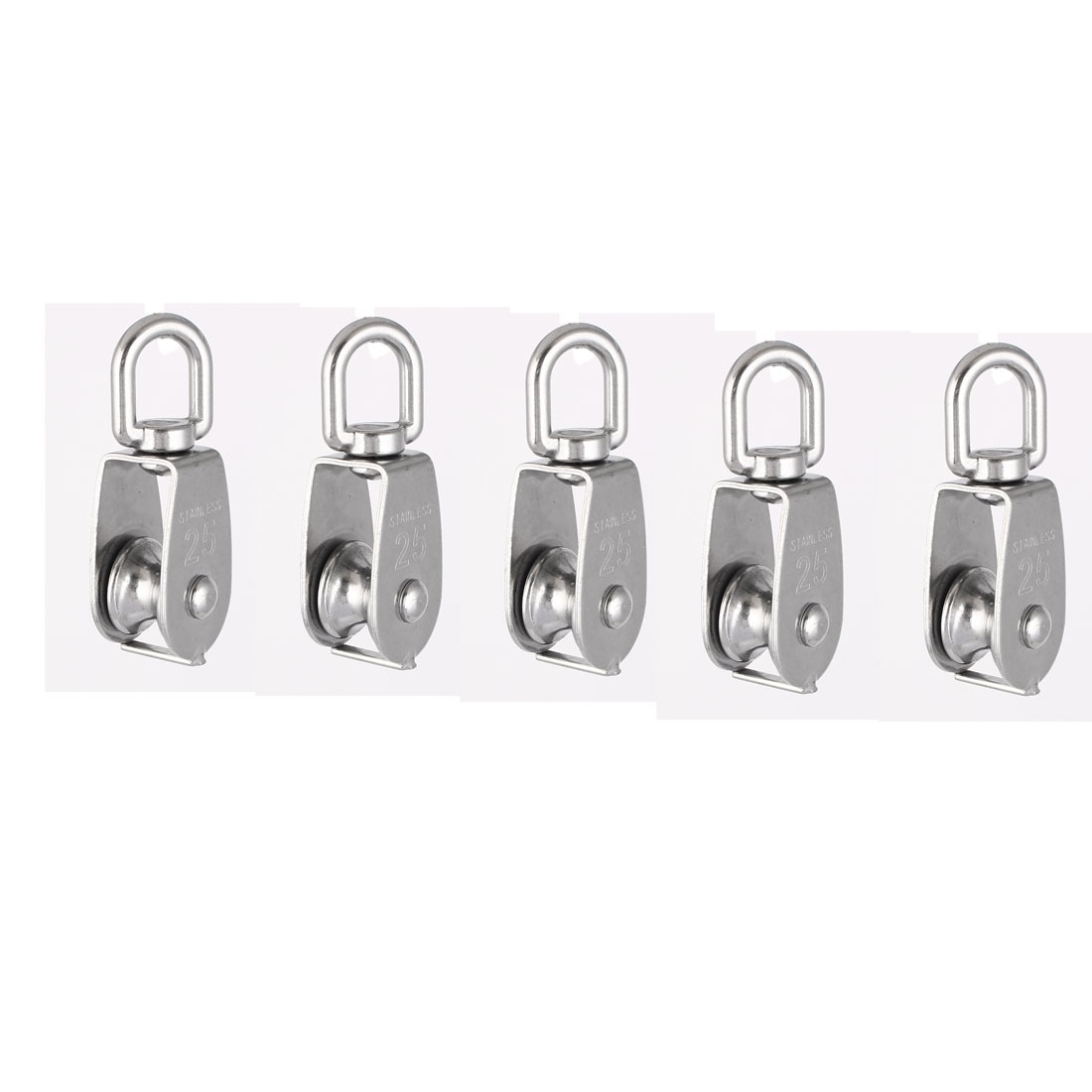 M25 Lifting Crane Swivel Hook Single Pulley Block Hanging Wire Towing Wheel 5pcs
