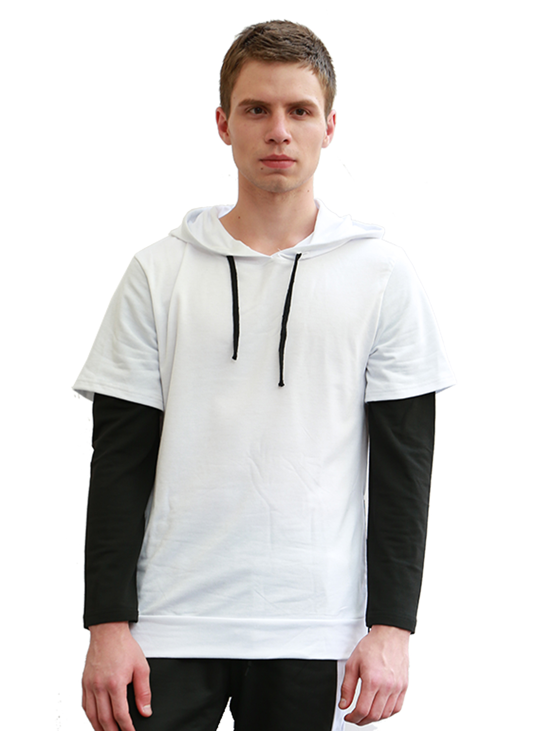 Men Color Block Layered Sleeves Side Zipper Drawstring Hoodie White S