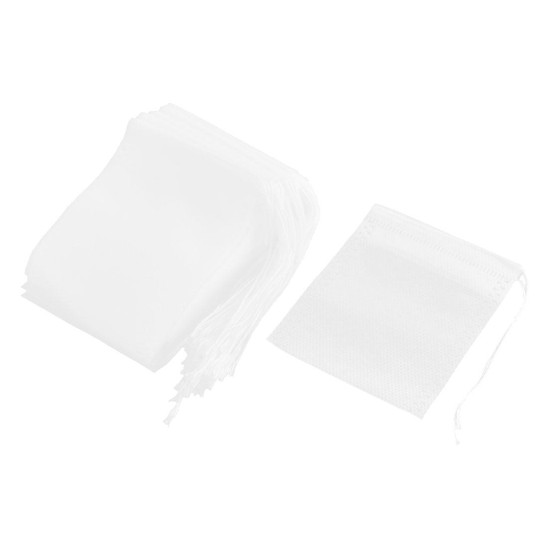 Home Non-woven Fabric Empty Herbal Powder Spice Tea Filter Bag White 9cm x 7cm 50 Pcs
