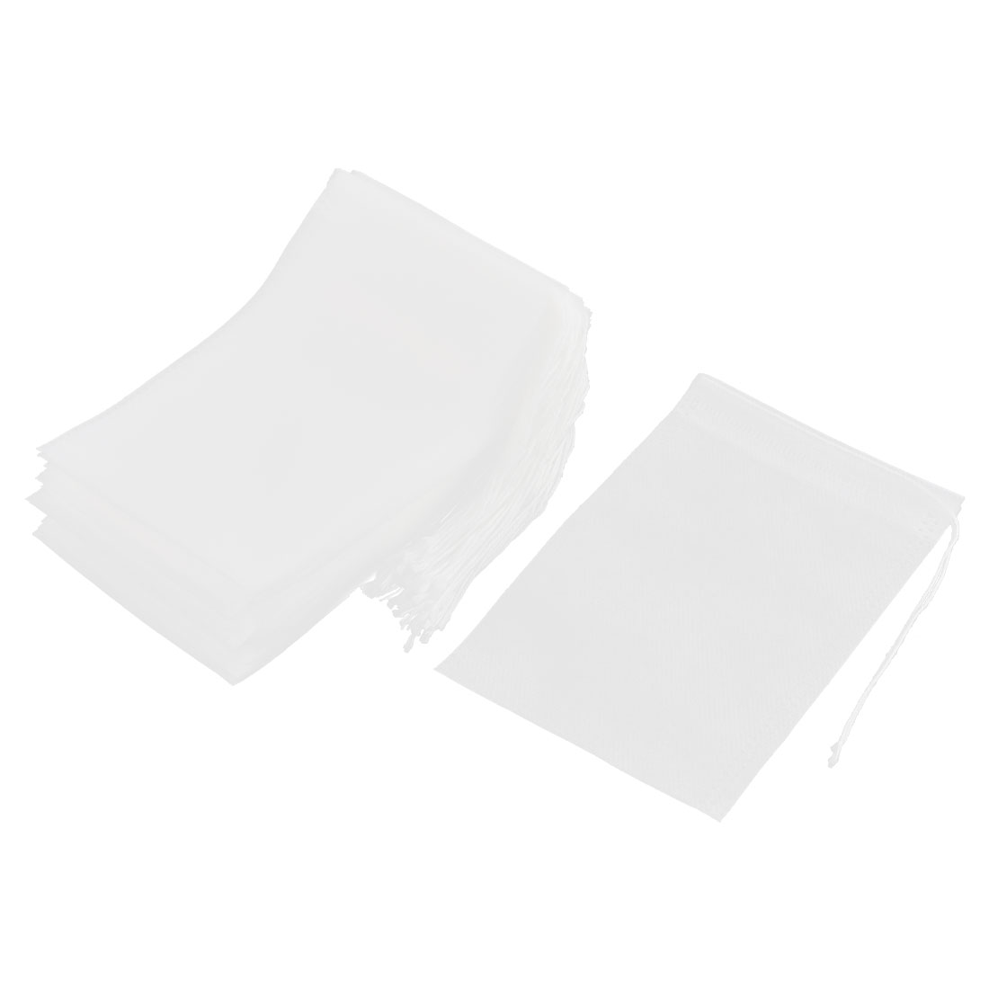 Household Non-woven Fabric Empty Herbal Powder Spice Tea Filter Bag White 15cm x 10cm 50 Pcs