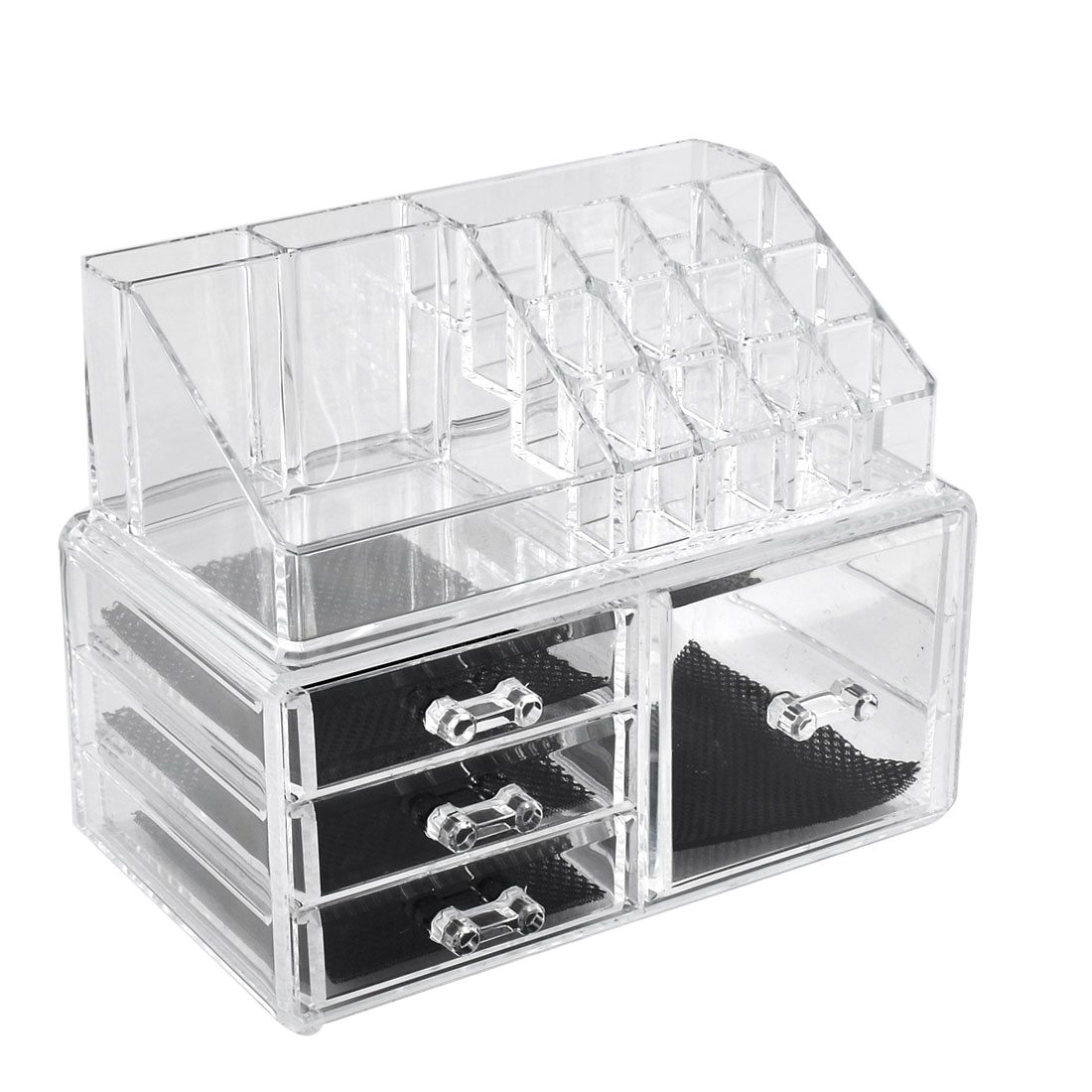 Home Acrylic Jewelry Makeup Dressing Case Organizer Display Box Set 2 in 1