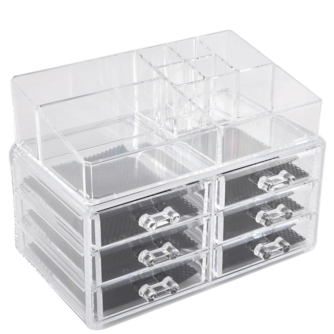 Acrylic 6-drawer Cosmetics Storage Box Case Jewelry Display Organizer Set 2 in 1