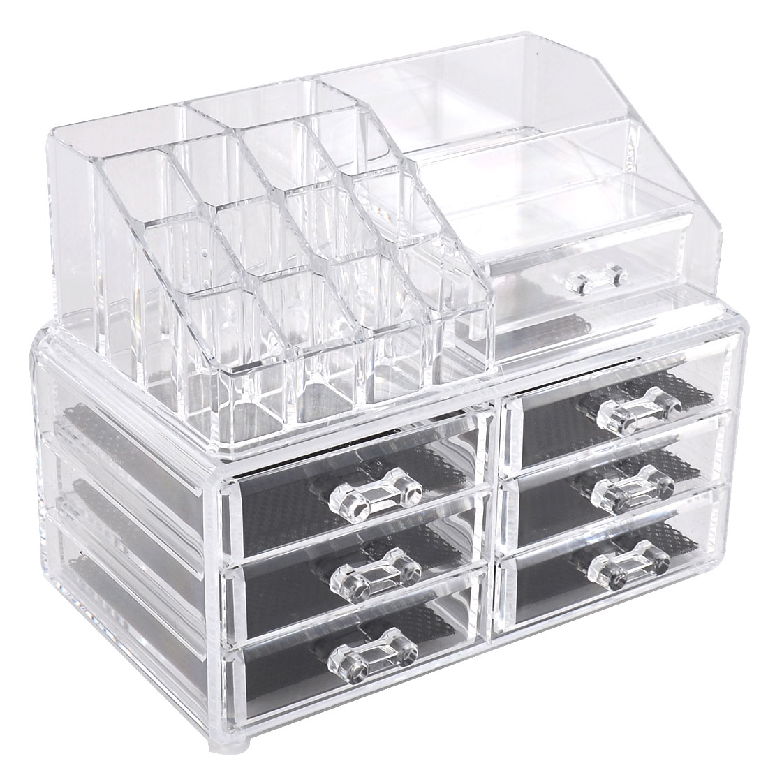 Lady Acrylic Makeup Tool Storage Case Display Box Cosmetics Jewelry Organizer Set 2 in 1