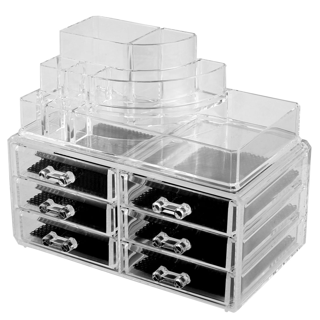 Home Acrylic Multilayers Jewelry Comestic Storage Organizer Display Box Set 2 in 1