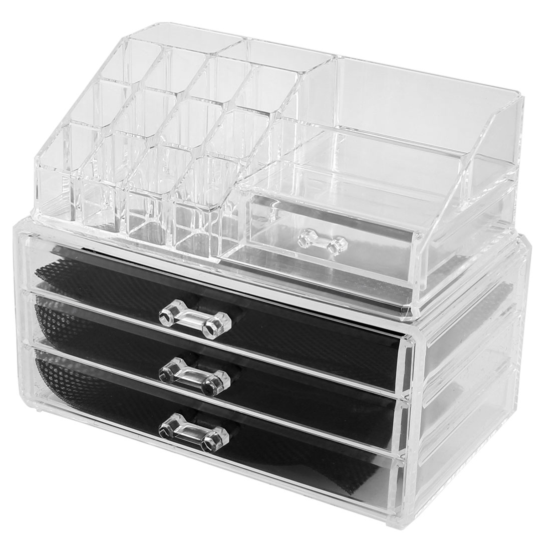 Home Acrylic Multichamber Transparent Jewelry Makeup Holder Oganizer Set 2 in 1